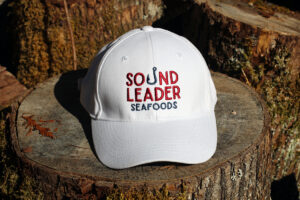 cap embroidered with Sound Leader Seafoods in Bellingham, Washington